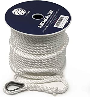 """Five Oceans Nylon Three Strand Anchor Rope Line with Thimble 3/8"""" x150FT, White FO-4297"""