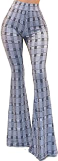 سروال نسائي Vivicastle USA Boho صلب ذو ساق واسعة واسعة واسعة واسعة واسعة واسعة من الأسفل (Z10، أسود، متوسط)