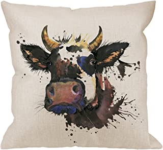 HGOD DESIGNS Cow Pillow Cover,Decorative Throw Pillow Watercolor Graphics Cow with Splash Pillow cases Cotton Linen Outdoor Indoor Square Cushion Covers For Home Sofa couch 18x18 inch Black Brown