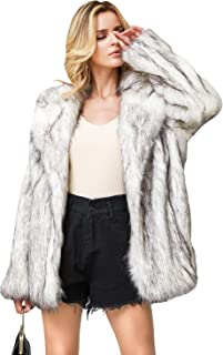 Zandiceno Women's Long Fax Fur Coats Plus Size Thick Warm Shaggy Coat Jacket Outwear