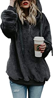 Women's Sherpa Pullover Fuzzy Fleece Sweatshirt Oversized Hoodies