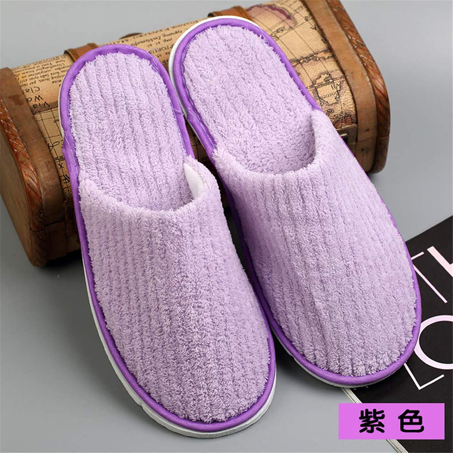 10 Pairs Disposable Spa Slippers - Coral Fleece Comfortable and Non-Slip - Perfect for Home, Hotel Travel, Holiday, Pedicure, Guest Room,Purple