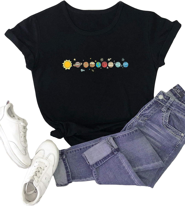 Romwe Women's Plus Size Galaxy Graphic Print Short Sleeve T Shirt Tee Tops