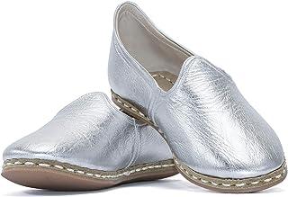 VellaPais Lüks Estetik Ve Zarif Gümüş Cilt Bayan Hakiki Deri Yemeni