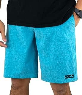 PELAGIC Men's Deep Sea Blue Hybrid Fishing Shorts | Fish Appear When Wet
