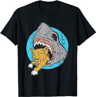 Shark Eating Kitty Cat Design T-Shirt