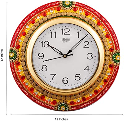 eCraftIndia Fine Crafted Elegant Papier-Mache and Wooden Wall Clock (30 cm X 2.5 cm X 30 cm), Multicolour & Makhan Chor with Friends Wrought Iron Wall Hanging (35 cm X 3 cm X 60) Combo