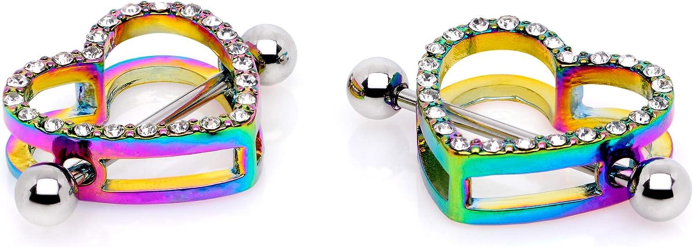 Body Candy 14G Womens Nipplerings Piercing Steel 2Pc Clear Accent Heart Nipple Shield Set 16mm