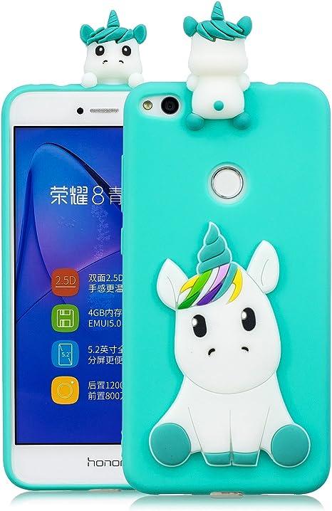 Coque Huawei p8 Lite 2017 Silicone avec Motif 3D Licorne Bleu Clair Housse pour Huawei p8 Lite 2017 Ultra Fine TPU Souple Étui Cute Mignon Slim Soft ...