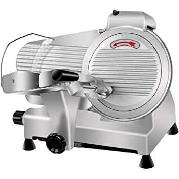Super Deal Commercial Stainless Steel Semi-Auto Meat Slicer, Cheese Food Electric Deli Slicer Veggies Cutter