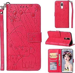 comprar comparacion YKTO Flexible Funda para Huawei Mate 10 Lite, Nova 2i Auténtica Premium Tipo Libro Piel Rojo Case Carcasa Plegable Cartera...