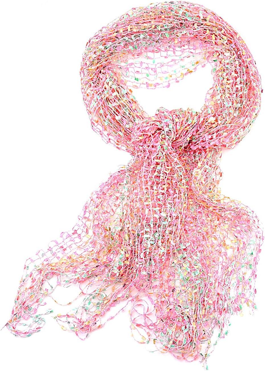 NYFASHION101 Women's Metallic Thread Confetti Net Tassel Ends Scarf Shawl Wrap