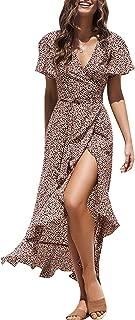 Miessial Women's Summer Chiffon V Neck Ruffle Maxi Dress Polka Dot Long Beach Wrap Dress