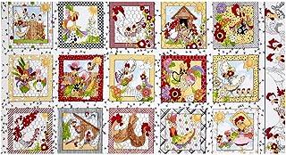 "Loralie Designs 0558004 Chicken Chique 24"" Panel Fabric, Multi"