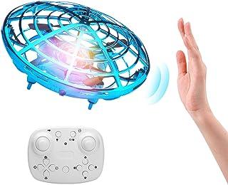 ShinePick Mini Drone con Control Remoto, Recargable UFO Drone Movimiento Control Mano Drones Juguetes Voladores con Luz LED Beginner RC Helicóptero Regalos para Niños y Adultos