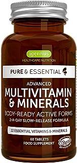Pure & Essential Complejo Multivitamínico Completo, vitaminas y minerales en forma activa, con hierro, zinc, vitaminas B, K2 & D3, vegano, 60 comprimidos