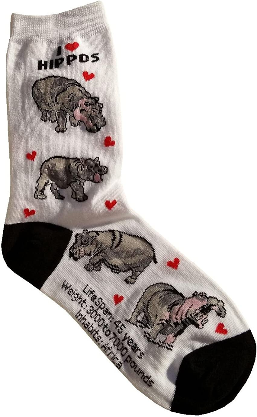 I Love Hippos Gift Women Cotton Collection Houston Mall Socks NEW before selling