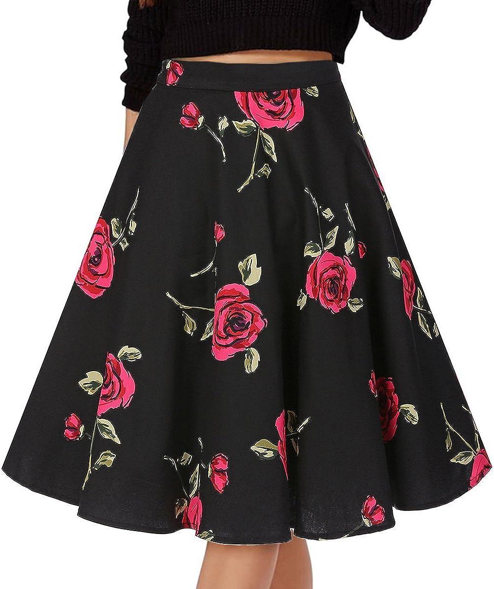 Fit Design Women's Pleated Skirt A-Line Print Midi Skirts