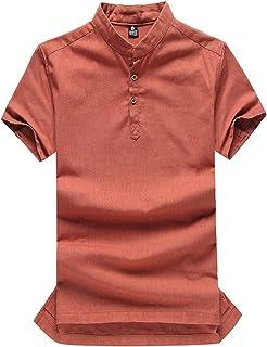 Letuwj Mens Coton T-Shirt Irregular Hem