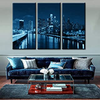 TUMOVO Wall Art Canvas Prints-Panorama Philadelphia Skyline Reflections on Water Image,Blue Black White Cityscape Picture Wall Decorations for Living Frame Room Ready to Hang(40'' x 20'' x 3 Panels)