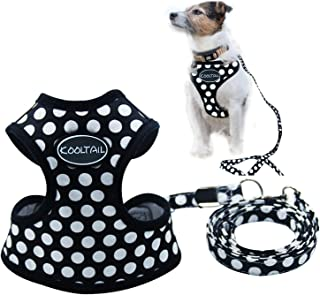 KOOLTAIL Puppy Harness and Leash for Small Dog Soft Mesh Pet Vest Black