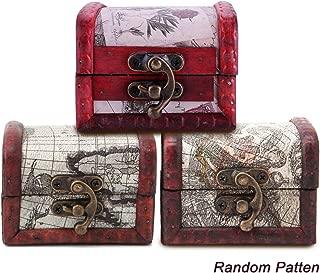 MERYSAN 3Pcs Vintage Handmade Treasure Lock Small Wooden Box, Wooden Pirate Map Storage Box, Retro Wood Flower Stamp Organizer Case Box Case Holder, Cute Jewelry Treasure Chest(3 Mixed Patterns)