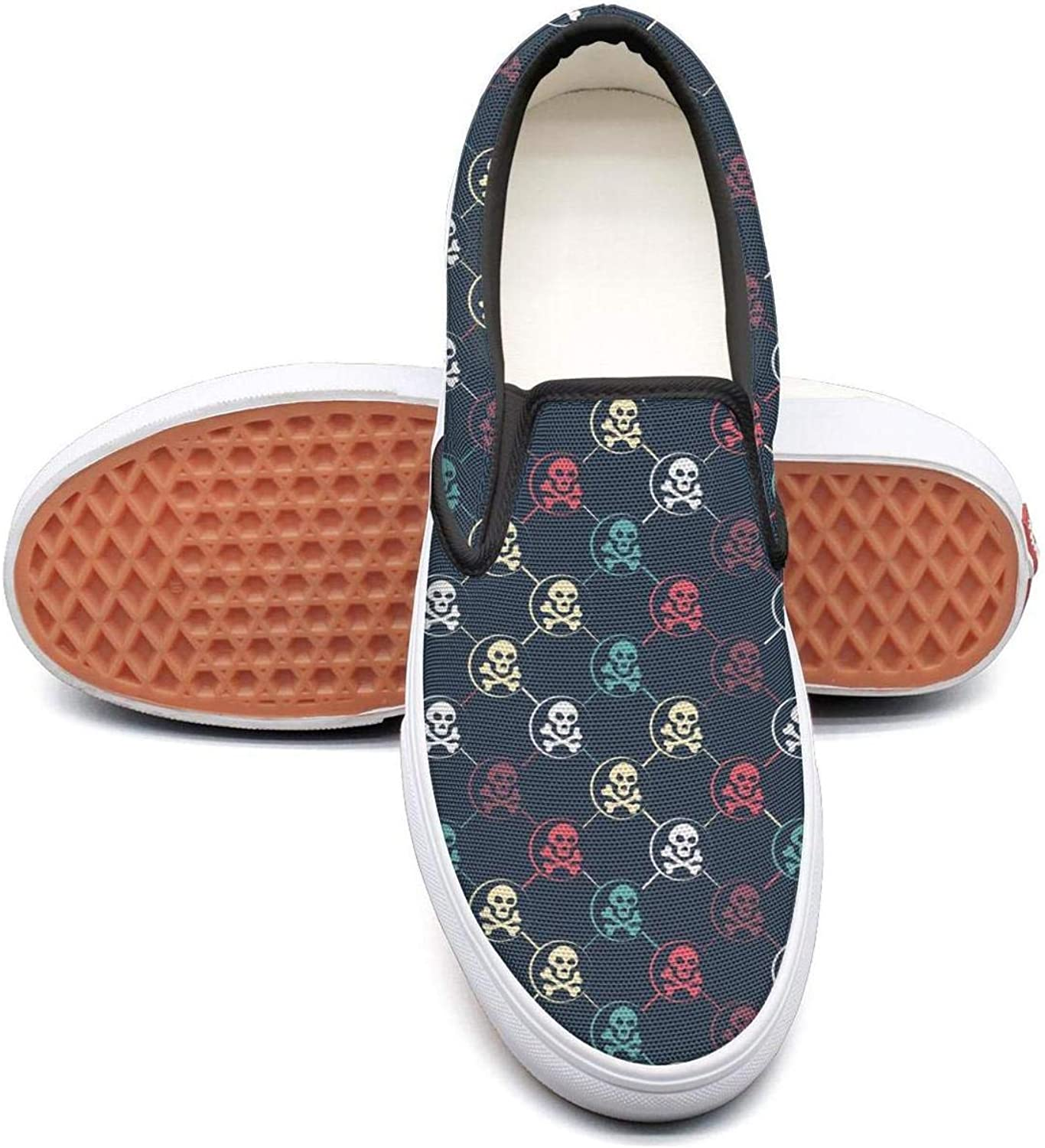 colord Skull Slip On Rubber Sole Loafers Canvas shoes for Women Fashion