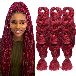 Wome Hair Kanekalon Synthetic Braiding Hair 3 Pcs 165G Burgundy# High Temperature Synthetic Fiber Crochet Twist Braids 84'' Long Hair Extension(84