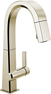 Delta Faucet Pivotal Single-Handle Bar-Prep Kitchen Sink Faucet with Pull Down Sprayer and Magnetic Docking, Polished Nick...
