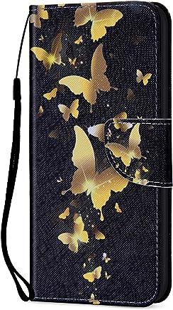 Kompatibel f�r Xiaomi Mi 8 H�lle Ledertasche Flip Case,QPOLLY Premium PU Leder Gemalt Muster Klapp Schutzh�lle im Bookstyle mit Kredit Karten Fach Magnet Handy H�lle Tasche,Goldener Schmetterling : B�robedarf & Schreibwaren