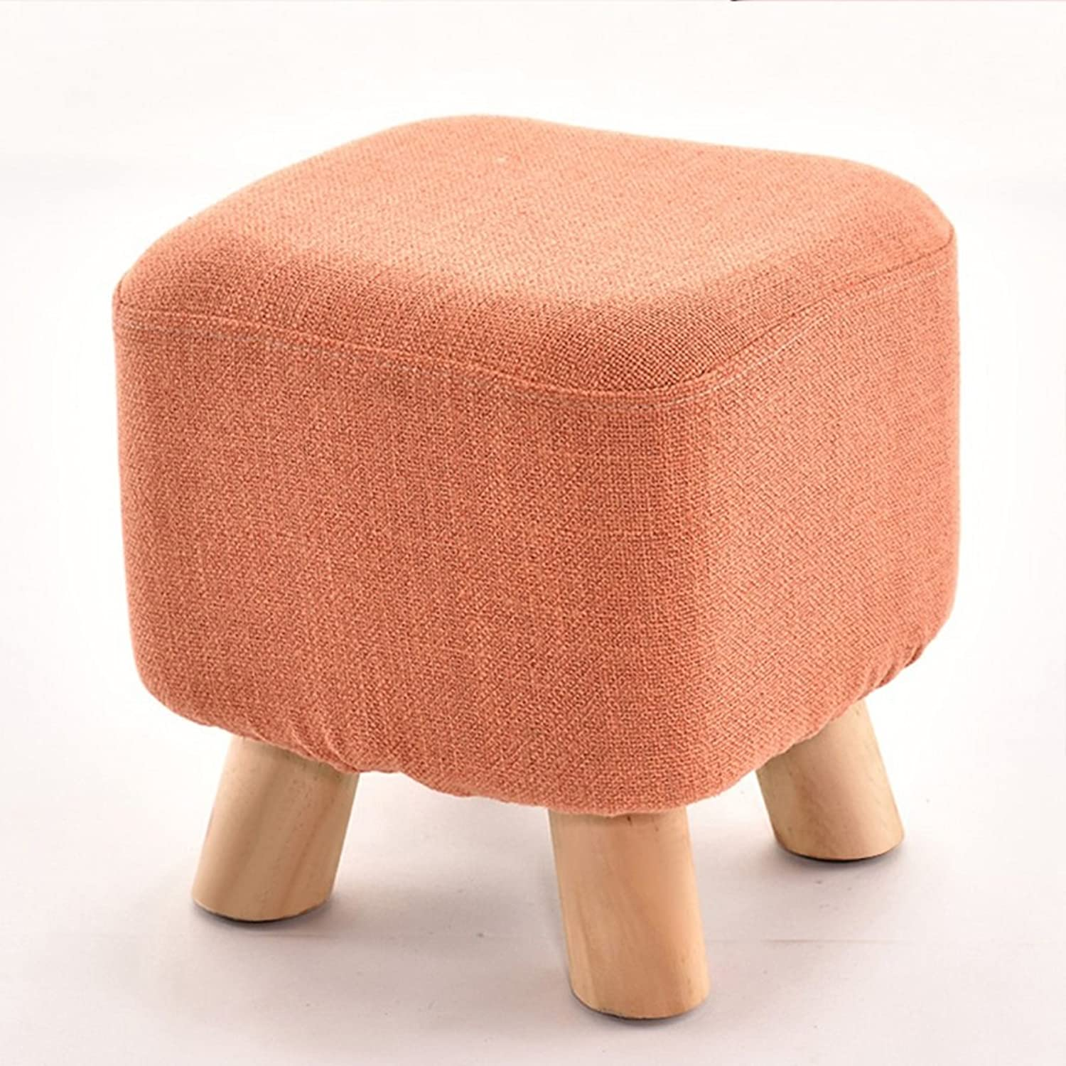 SJB Low stools Lazy Stool Home Fashion Footstool Creative stools Bed Sofa Coffee Table Stool Adult Solid Wood shoes Bench shoes Stool Home Bench (color   orange)