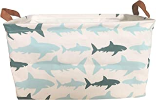 KIUATSJR Storage Baskets Collapsible Canvas Storage Bin Organizer for Kids Toy, Books, Nursery Storage, Gift Baskets (Shark)