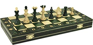 Consul Green Handcrafted Tournament Wooden Chess Board 19 x 19- Chessmen Weighted