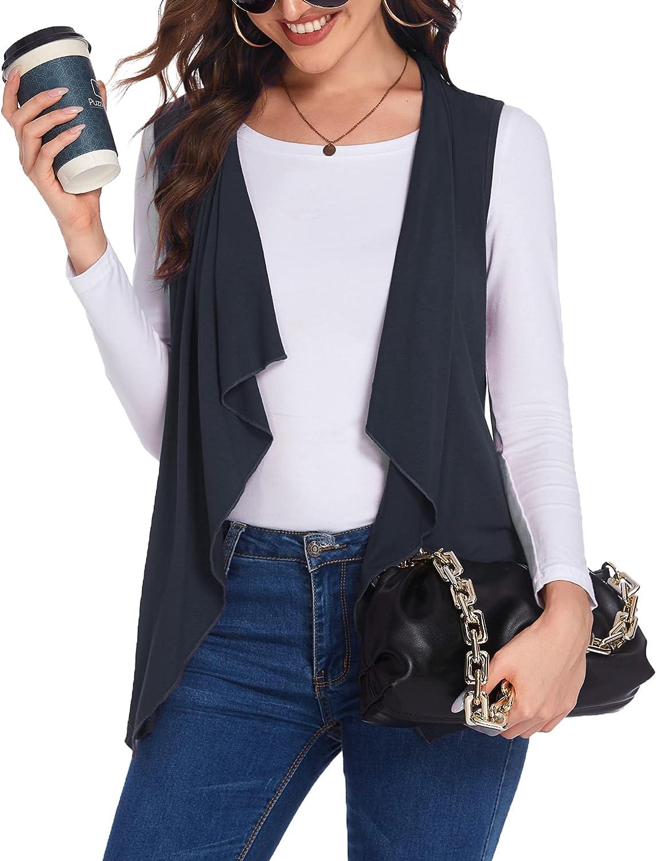 Beyove Womens Sleeveless Cardigan Vests with Side Pockets Ruffle Trim Draped Lightweight Lapel Open Front Vest (S-XXL)