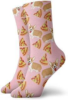 Elsaone, Niños Niñas Locos Divertidos Welsh Corgi Pizza Calcetines Vintage Calcetines Lindos de Novedad