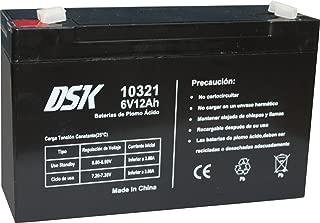 DSK 10321 - Batería Recargable de Plomo Ácido de 6V y 12Ah Ideal para Coches y Motos eléctricos para niños, Sistemas SAI/UPS, Sistemas de Seguridad y alarmas, Luces de emergencias y Equipos de comun