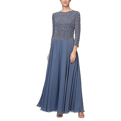 Alex Evenings Long Sequin Lace Mock Dress (Petite and Regular Sizes)