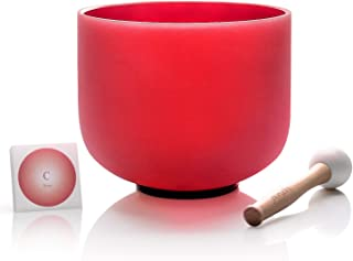 TOPFUND C Note Quartz Crystal Singing Bowl Root Chakra Red Color 8 inch O-ring and Rubber Mallet included