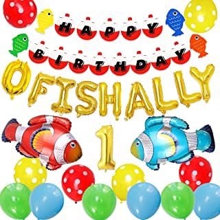 JOYMEMO Fishing First Birthday Decorations, Gone Fishing Party Supplies, O Fish Ally One Balloons Banner, Fish Foil Balloons Little Fisherman The Big One Fishing 1st Birthday