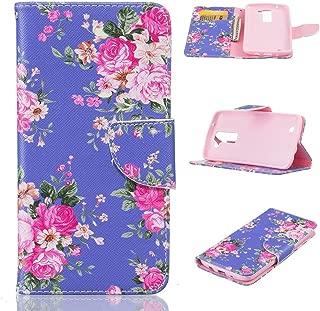 LG K7 Case, LG Tribute 5 Case, Firefish Kickstand Flip Folio Synthetic Leather Wallet [Shock Absorption] [Scratch Proof] Magnetic Closure Case for LG K7/LG Tribute 5 -Purple Flower