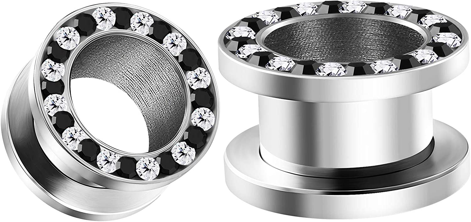 BIG GAUGES Pair of 316L Surgical Steel Black White Crystal Screw-fit Tunnels Piercing Jewelry Stretcher Ear Plug Earring Lobe Tunnel