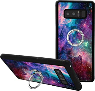 Universal Custom Purple Space Sky Samsung Galaxy Note 8 Phone Case Ring Holder Kickstand Rotational Heavy Duty Armor Protective Soft TPU Bumper Shell Cover for Samsung Galaxy Note 8