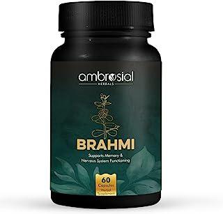 Ambrosial Brahmi – 500 mg | Brain Supplement, Nootropic & Brain Booster | 60 Veg Capsules