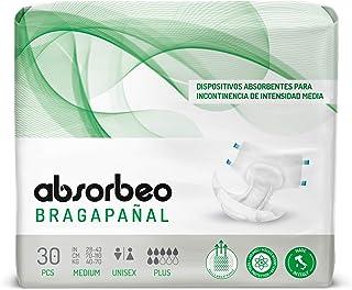 Absorbeo - Bragapañal Plus - Dispositivos Absorbentes para Incontinencia de Intensidad Media, Unisex, Talla M (30 piezas por paquete)
