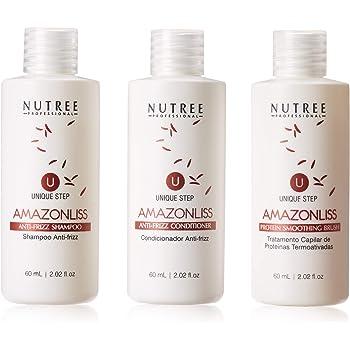 Hair Straightening Brazilian Protein Treatment 1 Step Amazonliss Protein Smoothing Set 2.02 Fl.oz - New Formula - Odor-Free - Formaldehyde-Free (2.02 fl.oz set)