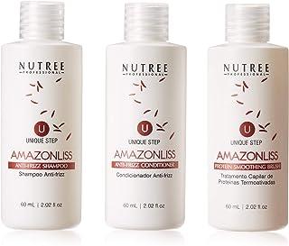 Hair Straightening Brazilian Keratin Treatment 1 Step Amazonliss Protein Smoothing Brush Set 2.02 Fl.oz - New Formula - Od...