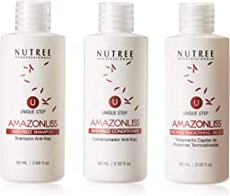 Hair Straightening Brazilian Keratin Treatment 1 Step Amazonliss Protein Smoothing Brush Set 2.02 Fl.oz - New Formula - Odor-Free - Formaldehyde-Free - Easy To Apply - Only 1 Hour for Application