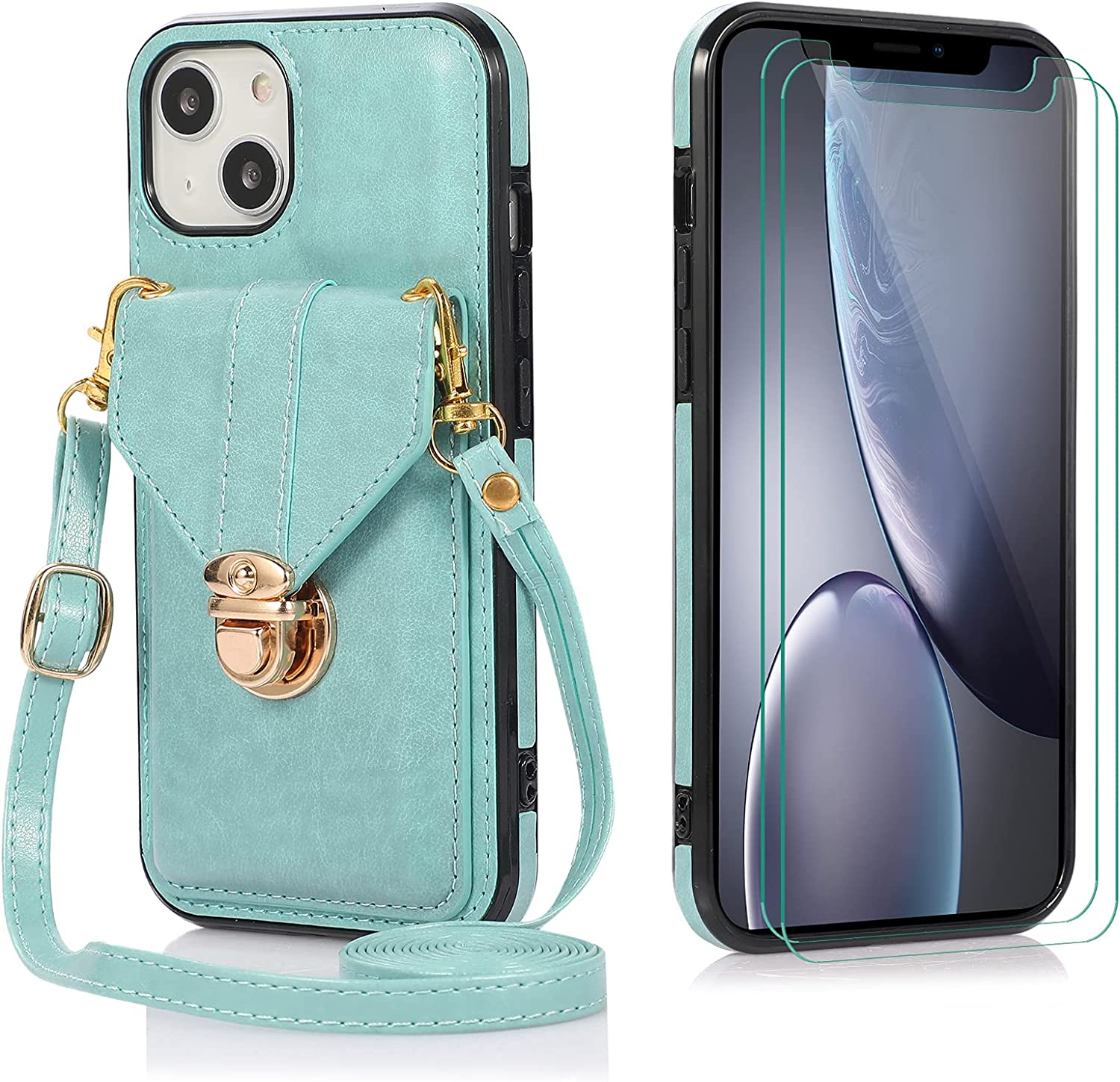 Futanwei Crossbody Slim Wallet Cases Compatible for iPhone 13 Case with [2 Pack] Tempered Glass Screen Protector, Luxury Women's Card Holder Case with Crossbody Strap Lanyard, Turquoise