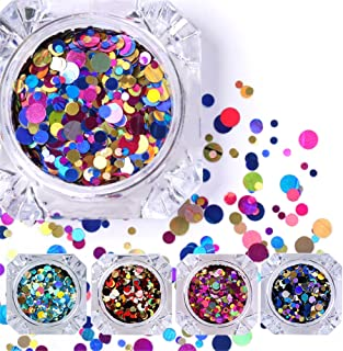 #01 : NICOLE DIARY 12 Box Colorful Shiny Round Ultrathin Sequins Nail Art Decoration Manicure DIY Decor