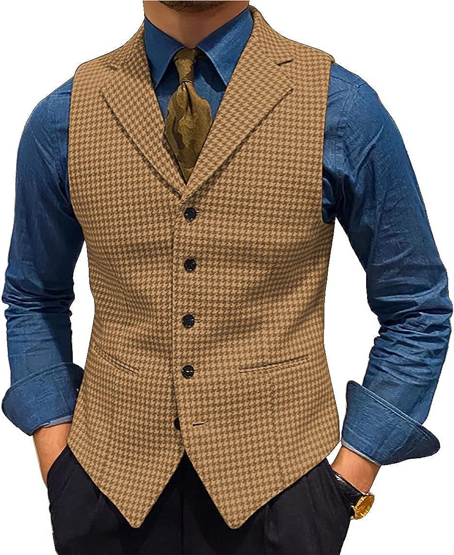 Men's Suit Vests Leisure Wool Tweed Plaid Waistcoat Slim Fit